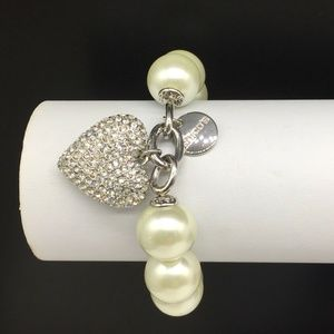 Chico's Pearl Crystal Rhinestone Heart Bracelet